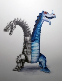 Imperial Twin-Headed Dragon graphite and watercolor 12x16