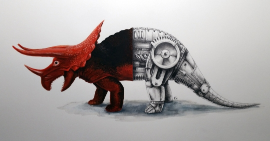 Dor Mei Triceratops graphite and watercolor 12x16