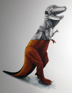 Dor Mei Tyrannosaurus Rex graphite and watercolor 12x16