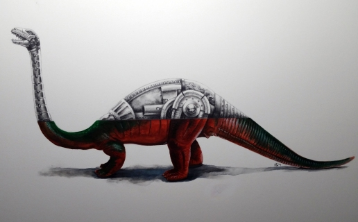 Dor Mei Brontosaurus graphite and watercolor 12x16