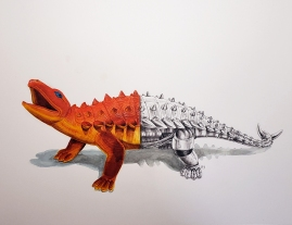 Dor Mei Ankylosaurus watercolor and graphite 12x16