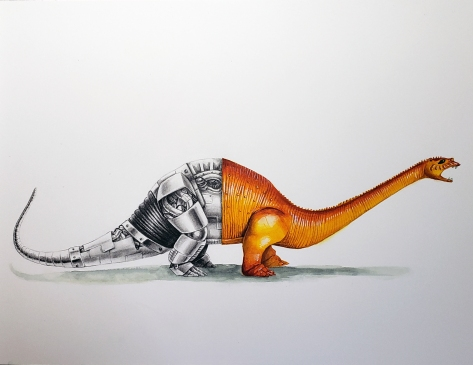 M.I.C. Brontosaurus watercolor and graphite 12x16