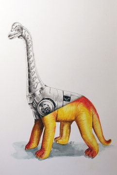 Imperial Brachiosaurus watercolor and graphite 8x12